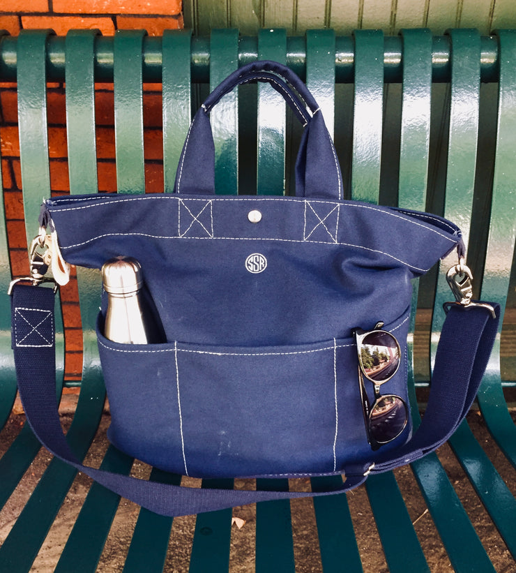 Embroidered Monogram Utility Canvas Bucket Pocket Tote Navy