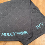 Embroidered Monogram Utility Canvas Quited Floor Mat