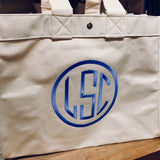 Embroidered Monogram Utility Canvas Field Bag Ivory