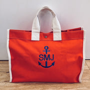 Embroidered Monogram Utility Canvas Field Bag Orange