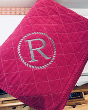 Embroidered Monogram Utility Canvas Quited throw blanket