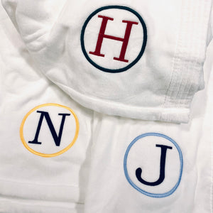 Embroidered Monogram Wrap Towel White Graduation Gift