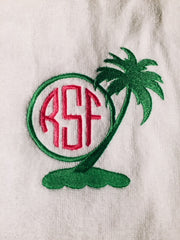 embroidered-monogram-wrap-towel-white- palm tree monogram