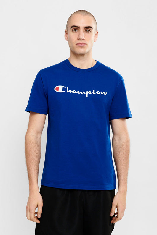 Champion // Script tee in Surf the web Blue