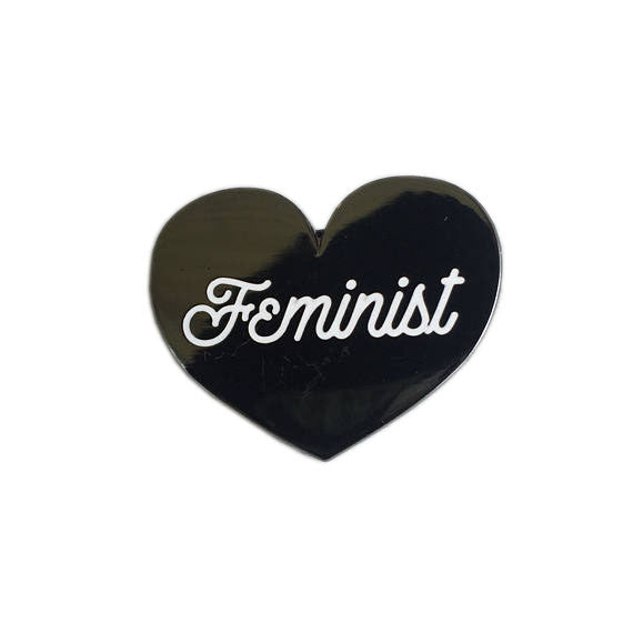 Feminist Heart Enamel Pin - Black