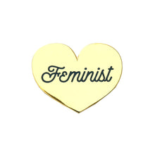 Feminist Heart Enamel Pin - Gold