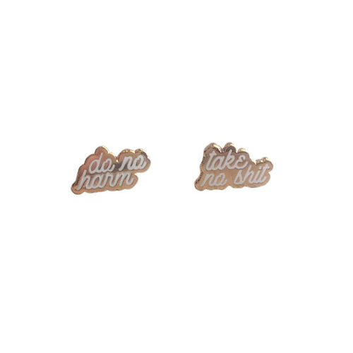 Do No Harm; Take No Shit Earrings *Rose Gold*