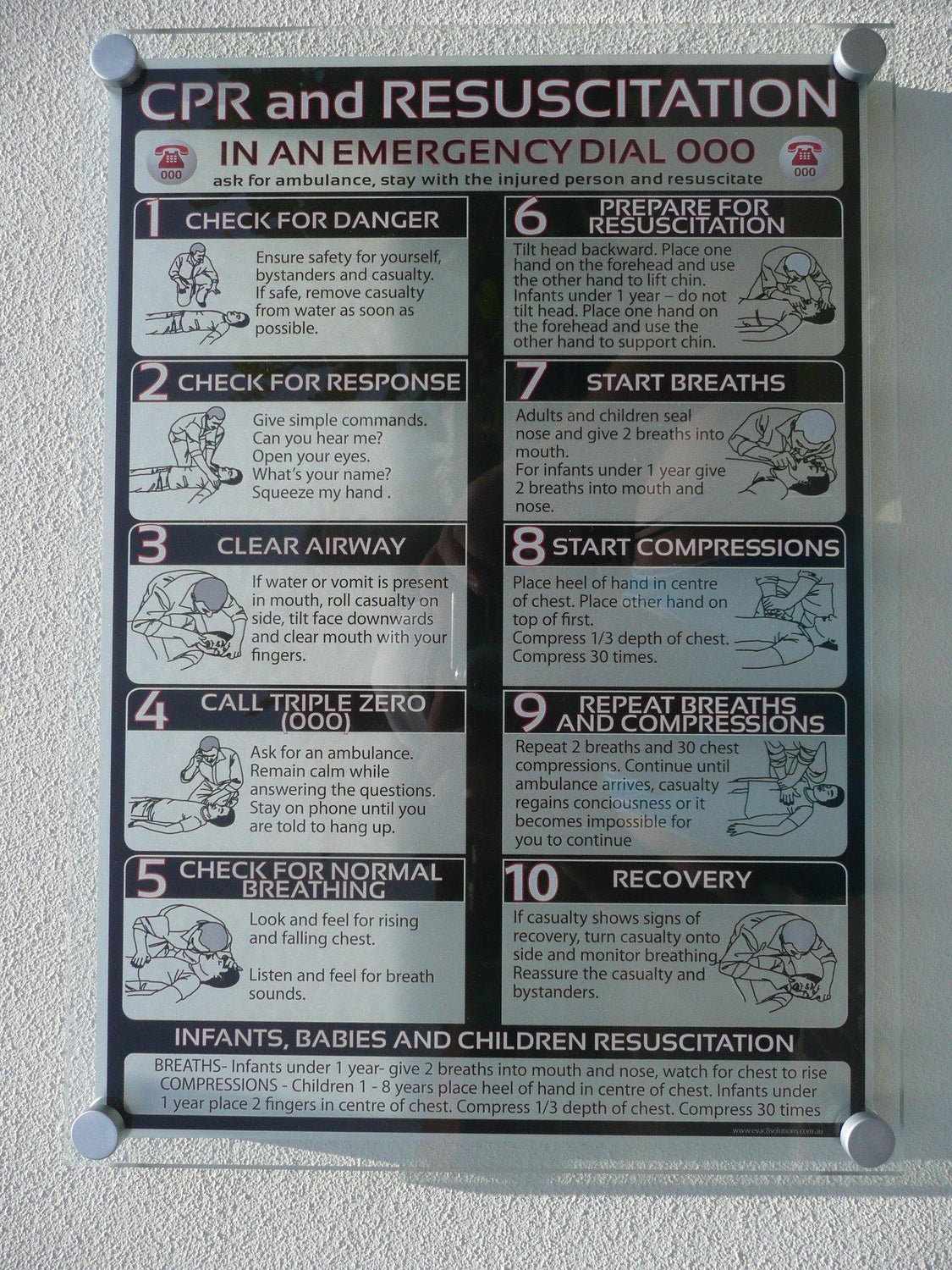 Premium Acrylic CPR Sign With Steps Design - www.cprsigns.com.au