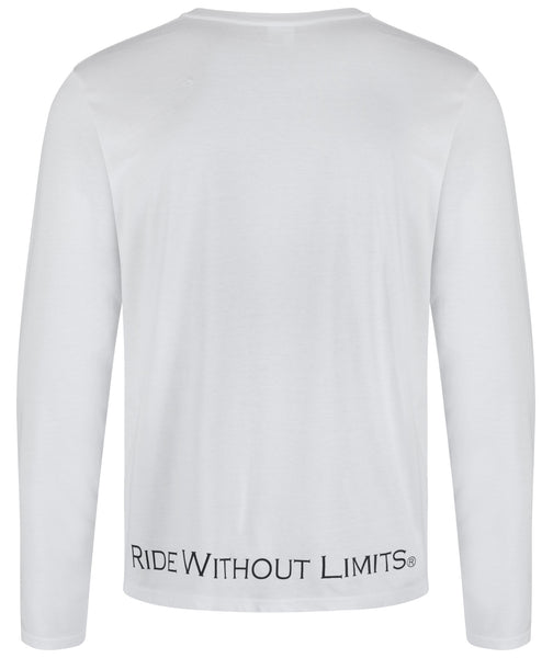 Ride Without Limits Emblem Long Sleeve Tee - White - Ride Without Limits