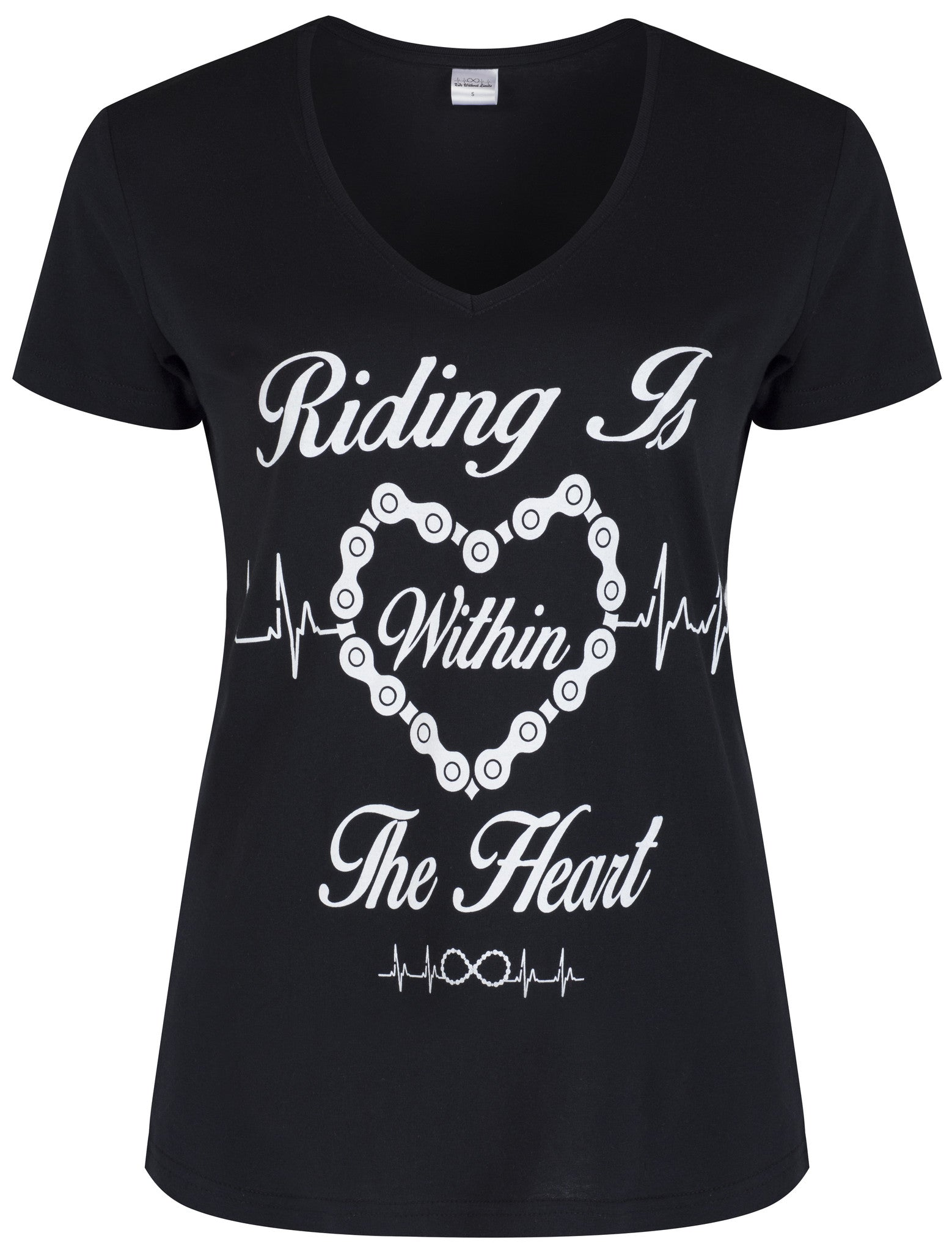 Riding Is Within The Heart V Neck - White On Black
