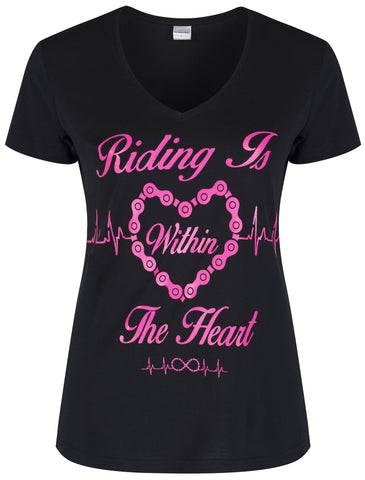 Riding Is Within The Heart V Neck - Pink On Black