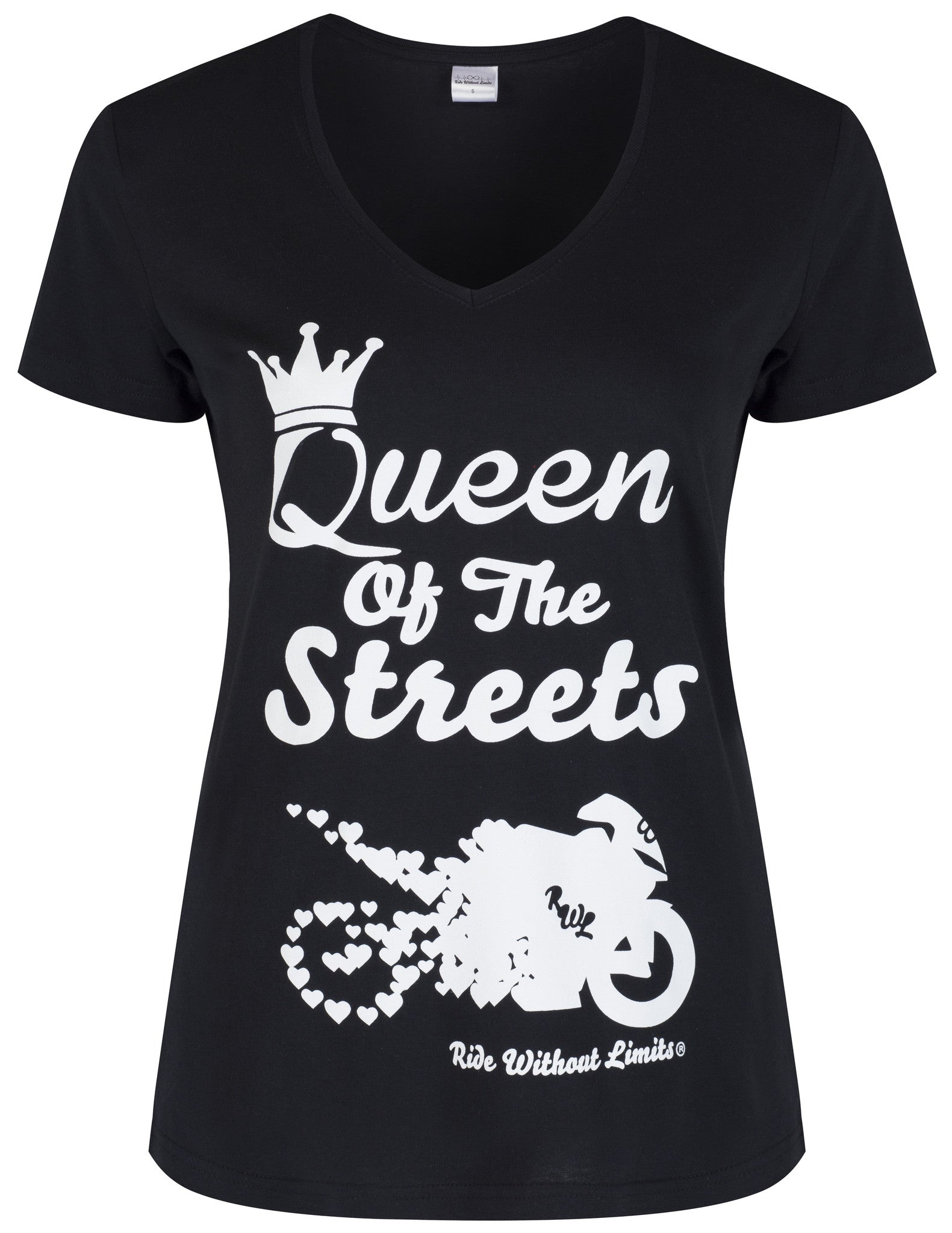 Queen Of The Streets V Neck - White On Black