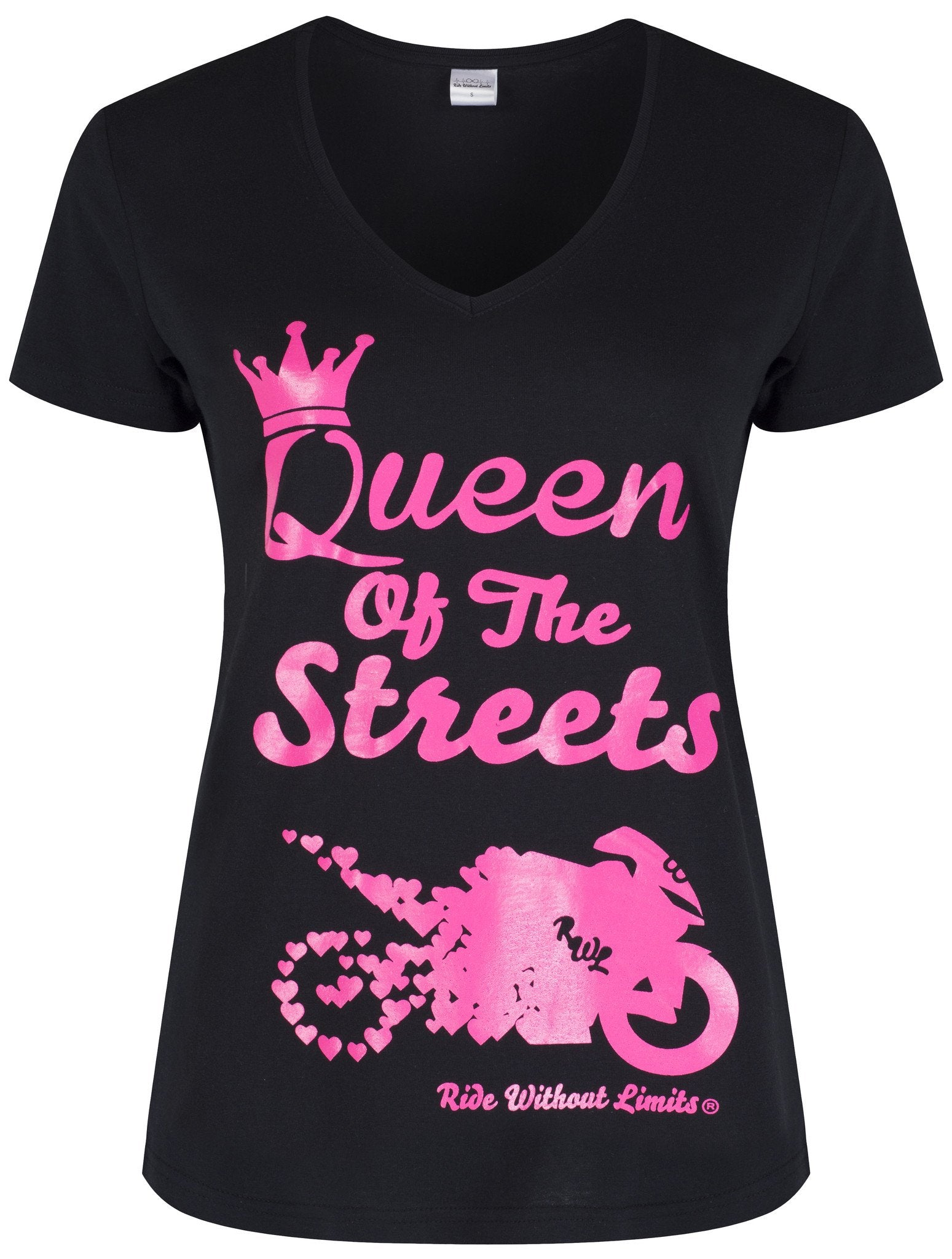 Queen Of The Streets V Neck - Pink On Black