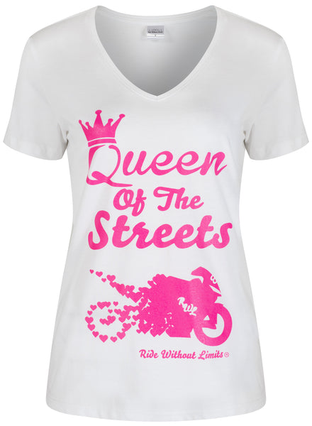 Queen Of The Streets V Neck - Pink On White - Ride Without Limits