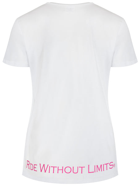 Riding Is Within The Heart V Neck - Pink On White - Ride Without Limits