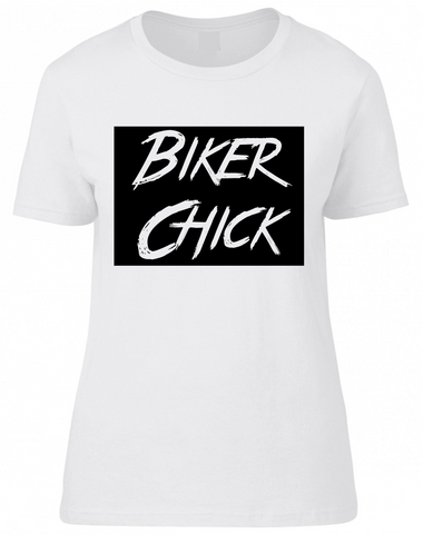 Biker Chick Block Tee - White
