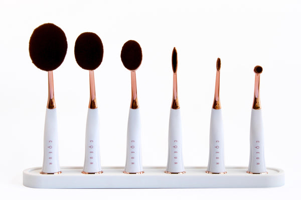 Magnetic Oval Brush Set in White & Rose Gold