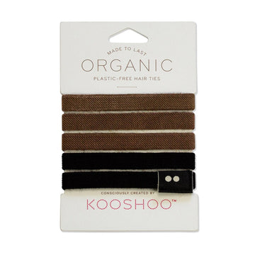 Organic Cotton Hair Ties - Black/Brown