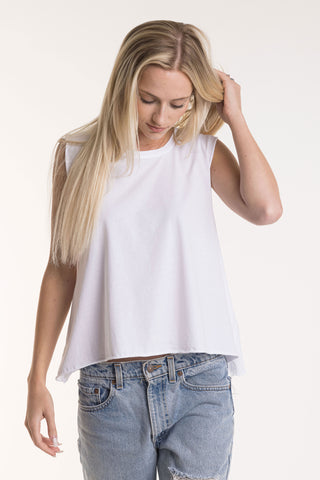 Women's Cropped Muscle Tee w/ Raw Edges - FACW1051