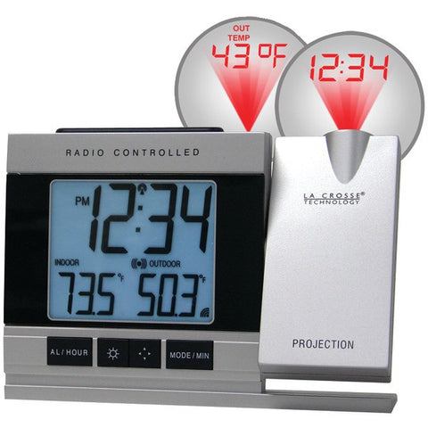 LA CROSSE TECHNOLOGY WT-5220U-IT-CBP Atomic Projection Alarm Clock with Indoor & Outdoor Temperature