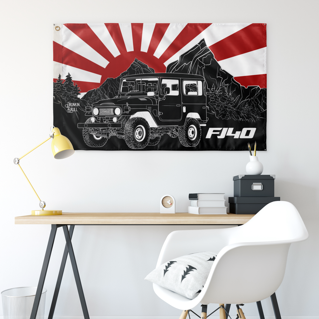 FJ40 Toyota Land Cruiser Under The Rising Sun 3x5 Wall Flag