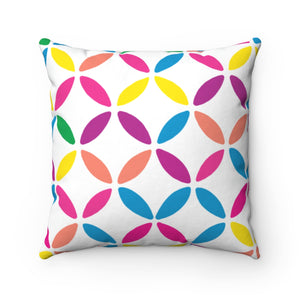 Geo Circle Square Pillow - White