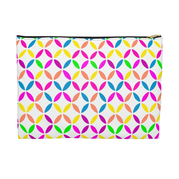 Geo Circles Accessory Pouch - White