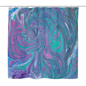 Turquoise Swirl Shower Curtain
