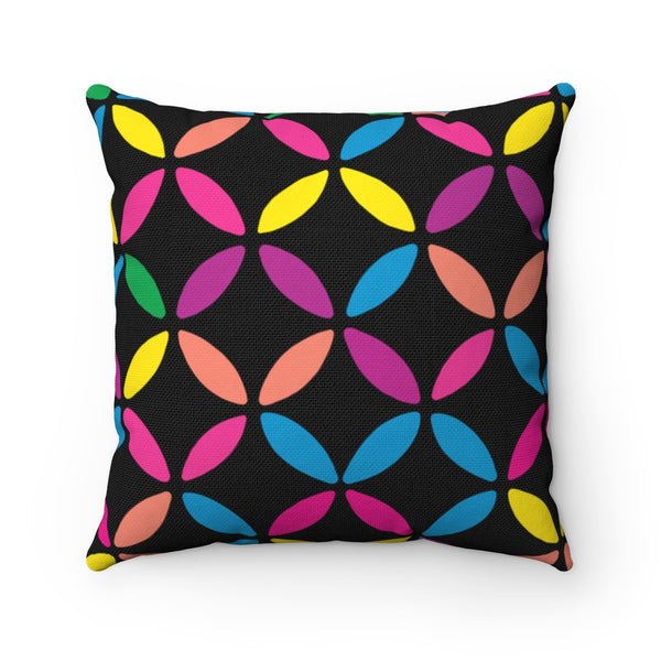 Geo Circle Square Pillow - Black
