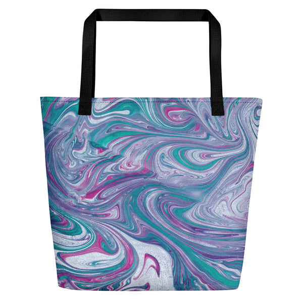 Turquoise Wave Shopper Tote