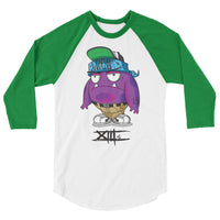 """Purple Stuff"" 3/4 sleeve raglan shirt"