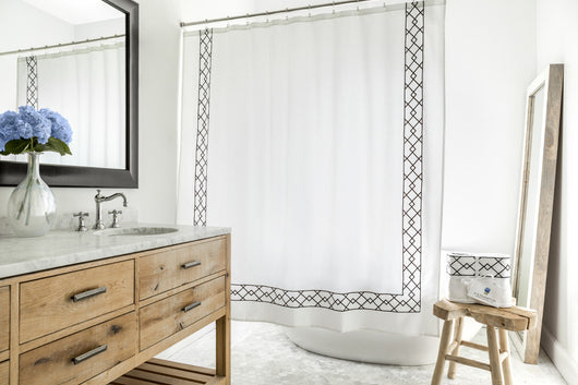 Black And White Shower Curtains Intended Meacox Beach Black White Shower Curtain With Embroidery