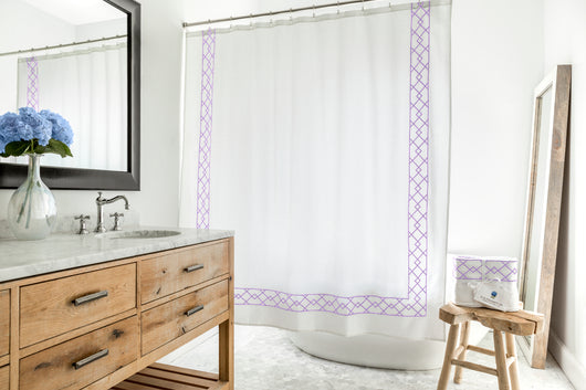 Flying Point Purple - Classic White Shower Curtain with Purple ...