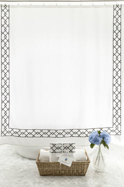 Luxurious, White Shower Curtain with Black Embroidery