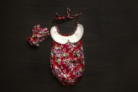 Vintage floral red playsuit with headband