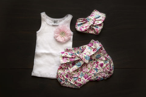 Vintage floral shorts with matching singlet and headband