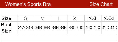 Miss yoga size chart sports bra