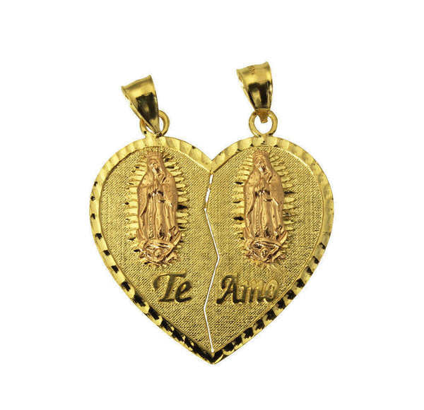 14K Yellow Gold Te Amo Guadalupe Heart Split Pendant