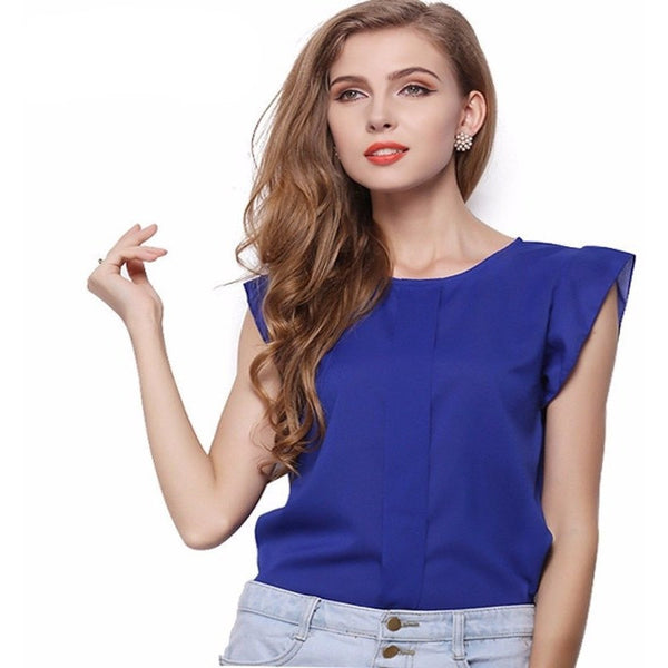 BLOUSES & SHIRTS - Ruffle Sleeveless Blouse