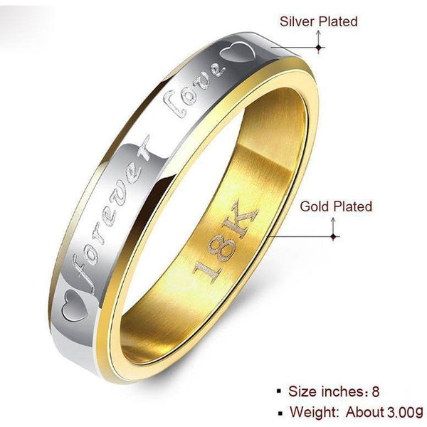 Gold Old Plated Stainless Steel Titanium Men Women Titanium 316L Forever Love Ring Promise Lovers Couple Rings Wedding Rings