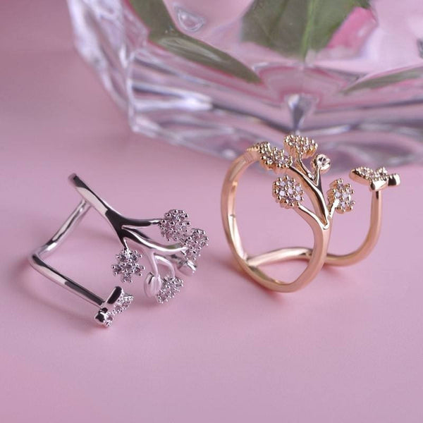 Luxury Copper Wedding Rings Butterfly Flower Couple Ring Design Adjustable Simulated Diamond Ring Female Only Lover Anel Bijoux