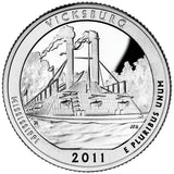 "2011 SILVER Proof ""Vicksburg"" National Military Park Quarter - Mississippi"