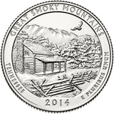 "2014 P,D,S ""Great Smoky Mountains"" National Park Quarter Uncirculated Set - Tennessee"
