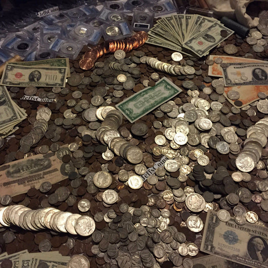 Estate Lot Old US Coins & Currency Silver Gold (Base Level