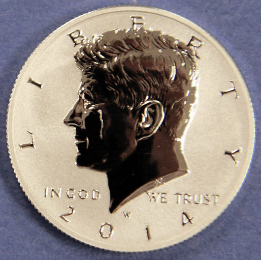 2014 W Reverse Proof Kennedy Silver Half Dollar 50c