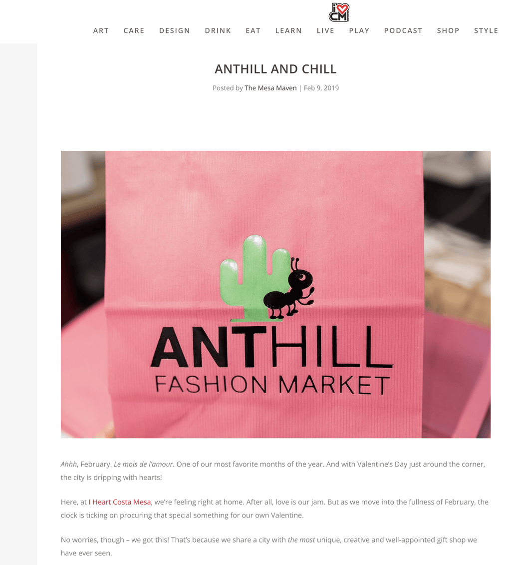 I HEART COSTA MESA | Anthill and Chill