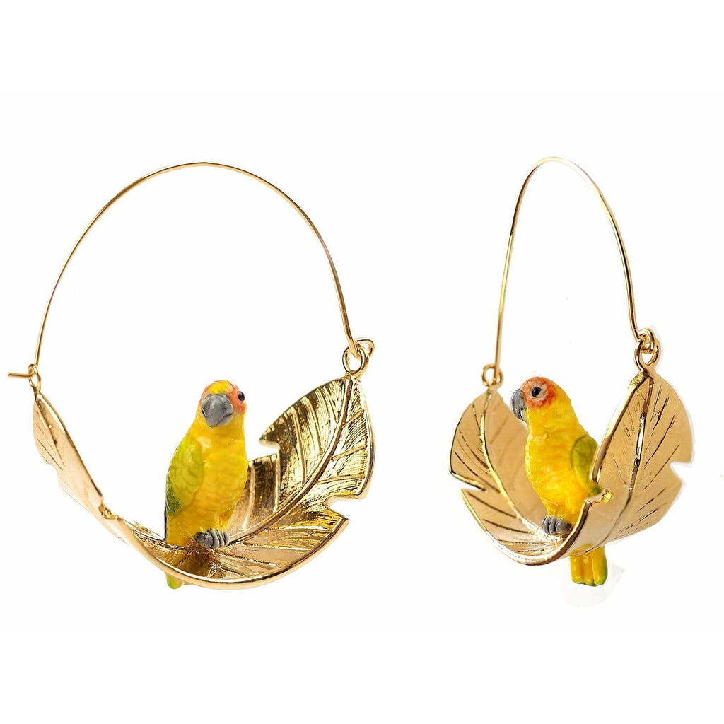 "SUN PARROT ON LEAF EARRINGS ""AKUMAL"""