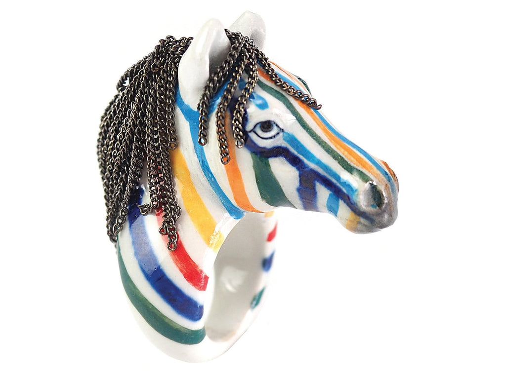 Medium Ring Colorful Zebra