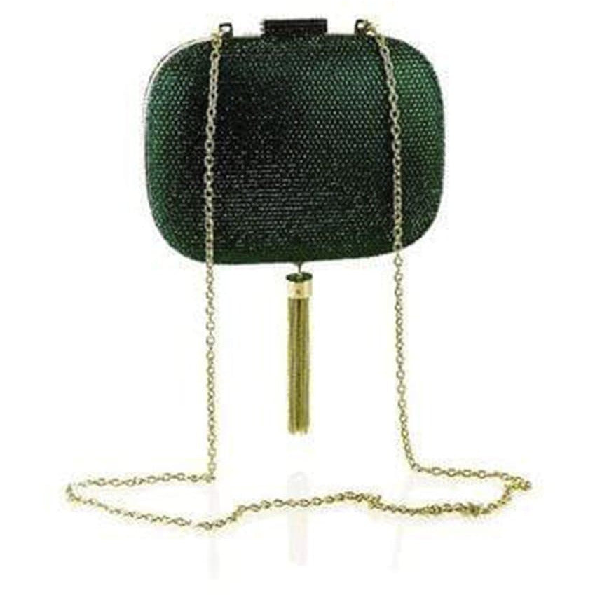 'Manuela' Embellished Clutch in Emerald