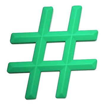 WS Hashtag Green 100% Silicone Teether